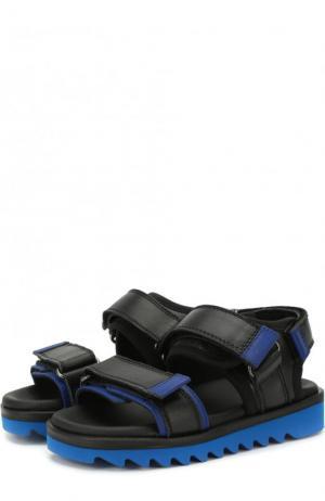 Кожаные сандалии с застежками велькро Gallucci. Цвет: черный