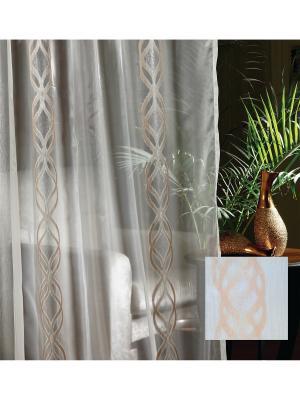 Тюль, органза Оранжевые узоры, 300*275 см Ambesonne. Цвет: белый, оранжевый, серый