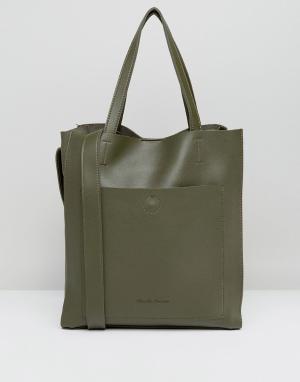 Claudia Canova Большая сумка-тоут без подкладки оливкового цвета. Цвет: зеленый