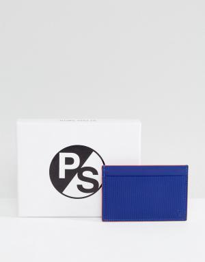 PS Paul Smith Синяя кожаная визитница с тиснением. Цвет: синий