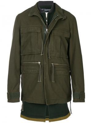 Многослойная куртка Cy Choi. Цвет: зелёный