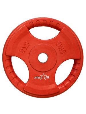 Диск обрезиненный STAR FIT BB-201 5 кг, стальная втулка, красный Starfit. Цвет: красный