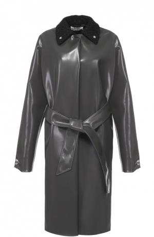 Пальто прямого кроя с шерстяным отложным воротником и поясом Acne Studios. Цвет: серый