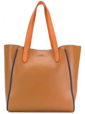 Большая сумка-тоут Hogan. Цвет: коричневый