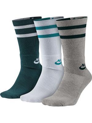 Гольфы SB 3PPK CREW SOCKS Nike. Цвет: серый, белый, зеленый