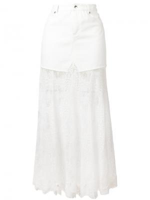 Джинсовая юбка с кружевным подолом McQ Alexander McQueen. Цвет: белый