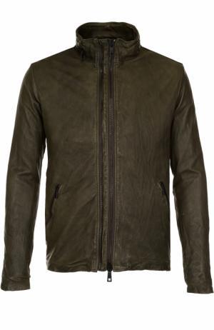 Кожаная куртка на молнии с эффектом крэш Giorgio Brato. Цвет: темно-зеленый