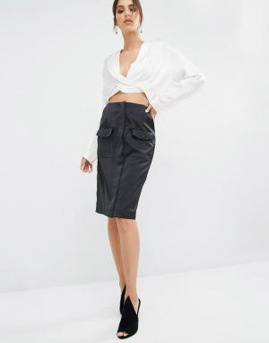 Kendall + Kylie Юбка миди с карманом. Цвет: черный