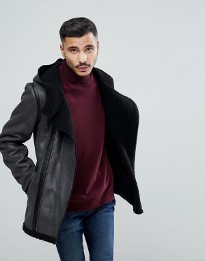 Goosecraft Черная куртка с искусственной овчиной. Цвет: черный