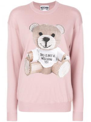 Свитер с изображением плюшевого медведя Moschino. Цвет: розовый и фиолетовый