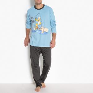 Пижама с длинными рукавами и рисунком SIMPSONS. Цвет: синий/темно-серый