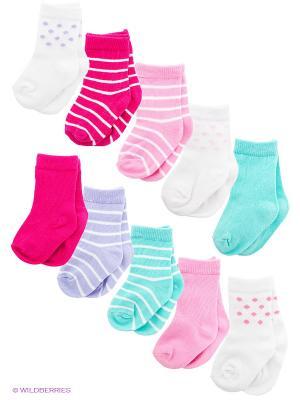 Носки, 10 пар Luvable Friends. Цвет: белый, розовый, светло-зеленый, сиреневый