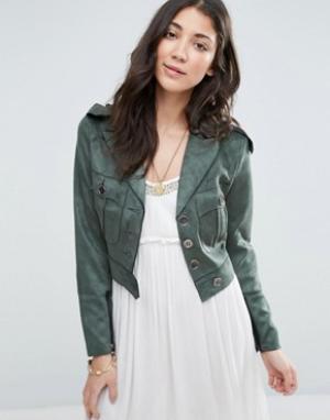 Raga Зеленая куртка из искусственной замши No Rules. Цвет: зеленый