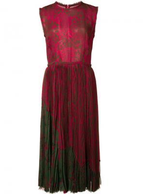 Плиссированное платье с цветочным рисунком Jason Wu. Цвет: розовый и фиолетовый