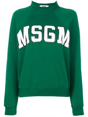 Толстовка с логотипом MSGM. Цвет: зелёный