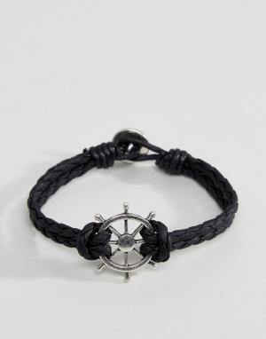 Icon Brand Черный плетеный браслет с подвеской в виде морского штурвала Bran. Цвет: черный