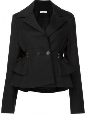 Твиловая куртка с баской Tome. Цвет: чёрный