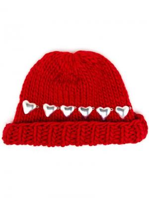 Knitted Heart Beanie Hat Wool And The Gang. Цвет: красный