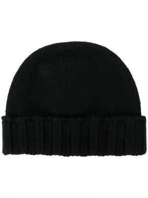 Вязаная шапка с ребристым подолом Drumohr. Цвет: чёрный