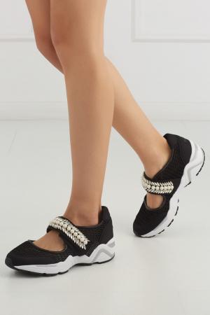 Кроссовки с кристаллами Suecomma Bonnie. Цвет: черный, белый