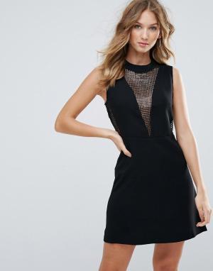 Deby Debo Облегающее платье с сетчатыми вставками Elisa. Цвет: черный
