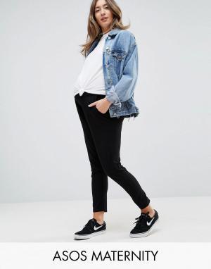 ASOS Maternity Суженные книзу трикотажные брюки Ultimate. Цвет: черный