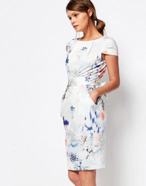 Closet London Платье миди с завязкой сзади и короткими рукавами. Цвет: синий