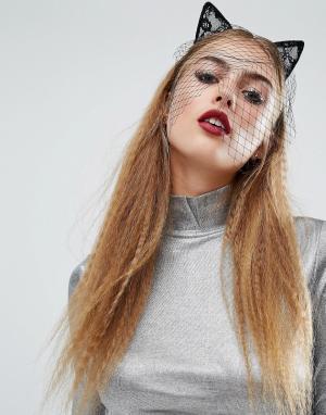 Orelia Обруч для волос с кружевными кошачьими ушками Halloween. Цвет: черный