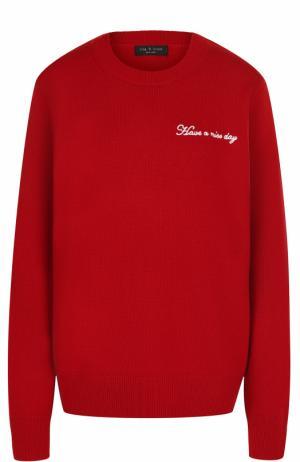 Пуловер из смеси шерсти и кашемира с круглым вырезом Rag&Bone. Цвет: красный