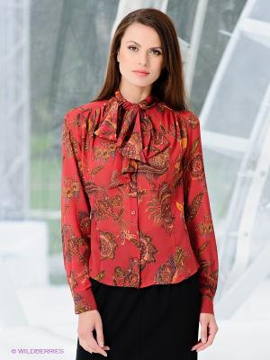 Блузка Classic Style. Цвет: темно-красный, коричневый, оранжевый
