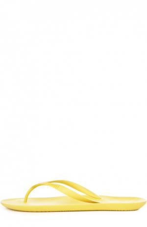 Резиновые шлепанцы с тиснением A. Testoni. Цвет: желтый