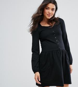 Mama.licious Трикотажное короткое приталенное платье с длинными рукавами Mamaliciou. Цвет: черный