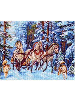Рисунок на канве Матренин Посад. Цвет: синий, белый, коричневый