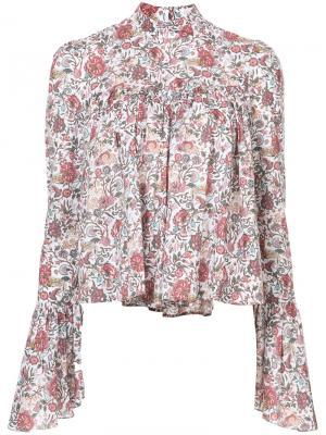 Блузка с цветочным узором Caroline Constas. Цвет: белый