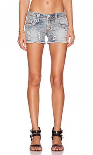 Джинсовые шорты amra Rock Revival. Цвет: none