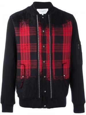 Куртка-бомбер в клетку Les Benjamins. Цвет: чёрный