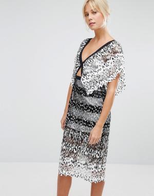 Foxiedox Платье миди с вырезом Deville. Цвет: белый