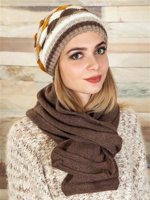 Комплект (шапка, шарф) LORICCI. Цвет: коричневый