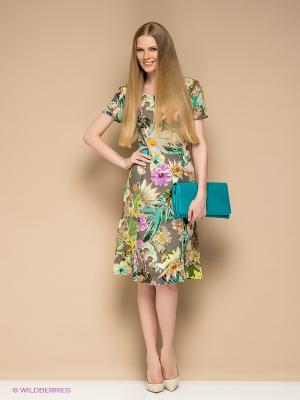 Платье Betty Barclay. Цвет: зеленый, темно-серый, желтый