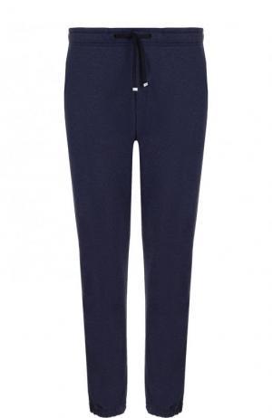 Хлопковые брюки прямого кроя с поясом на кулиске Bogner. Цвет: темно-синий