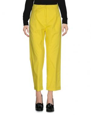 Повседневные брюки ODEEH. Цвет: желтый