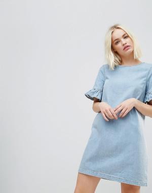 Chorus Джинсовое платье мини с оборками на рукавах. Цвет: синий