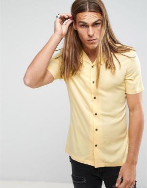 ASOS Желтая вискозная рубашка скинни с отложным воротником. Цвет: желтый