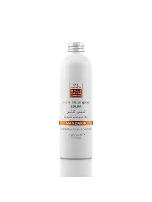 Шампунь для окрашенных волос с маслом ши (карите) и защитным уф-фактором MANDARIN MILLA HALAL COSMETICS. Цвет: оранжевый, белый