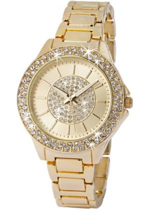 Часы со сверкающим циферблатом (золотистый) bonprix. Цвет: золотистый