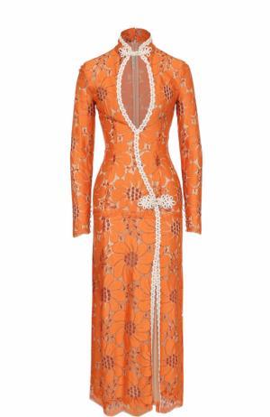 Приталенное кружевное платье с высоким разрезом Alessandra Rich. Цвет: оранжевый