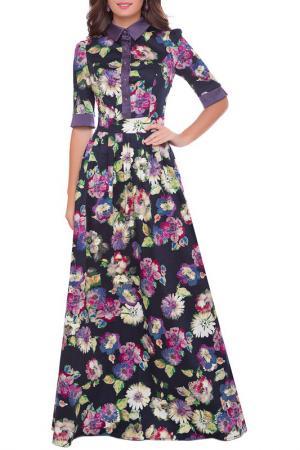 Платье Olivegrey. Цвет: цветы на синем