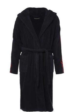 Хлопковый халат с поясом и капюшоном Emporio Armani. Цвет: темно-синий