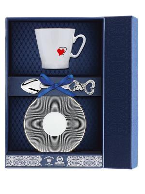 Набор кофейный Черный кофе - Сердечки 3 предмета + футляр АргентА. Цвет: серебристый