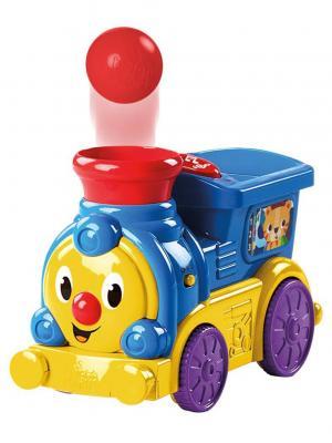 Весёлый паровозик, с мячиками BRIGHT STARTS. Цвет: голубой, красный, желтый